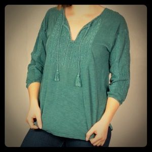 Lucky Brand long-sleeve, embroidered tunic top, Sm